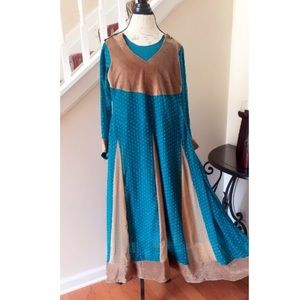 Gorgeous Teal and Brown Indian AnarKali Dress